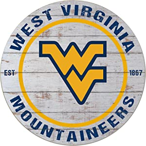 """KH Sports Fan 20""""x20"""" Classic West Virginia Mountaineers Weathered Circle Sign"""