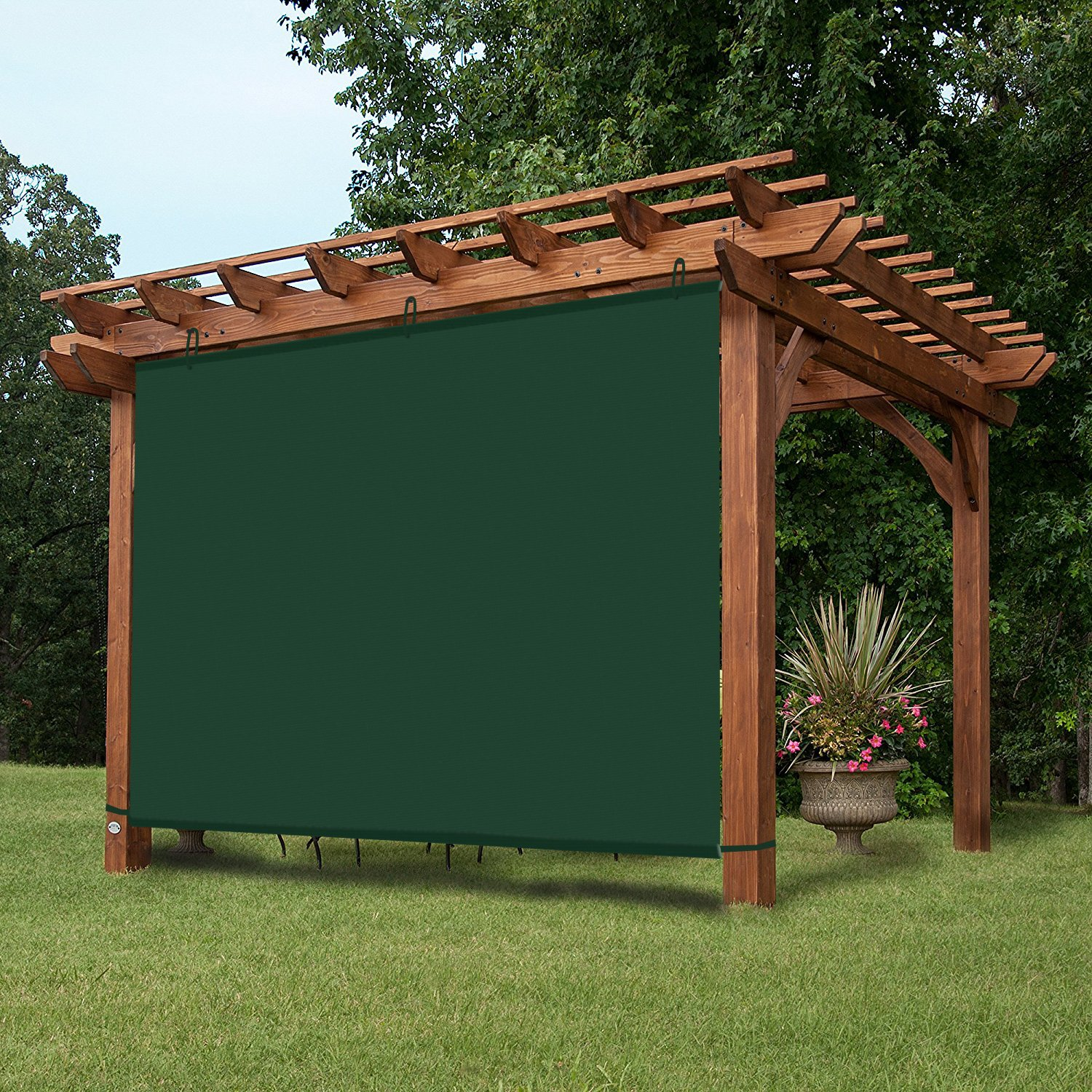 EZ2hang Waterproof 5x4ft Dark Green Alternative solution for Roller Shade,Exterior Privacy Side Shade Panel for Pergola, Patio,