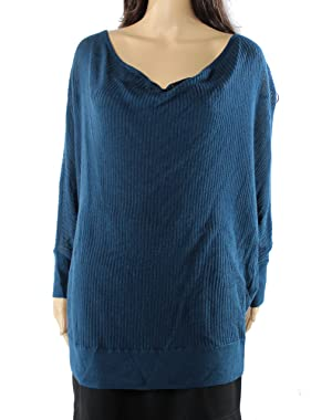 Caslon Womens Scoop Neck Ribbed Open-Knit Sweater Blue XL