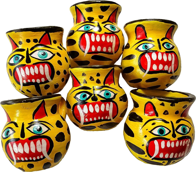 Jaguars Mexican Jarritos Set de 6 vasos de chupito tradicionales de tequila y arcilla Mezcal.