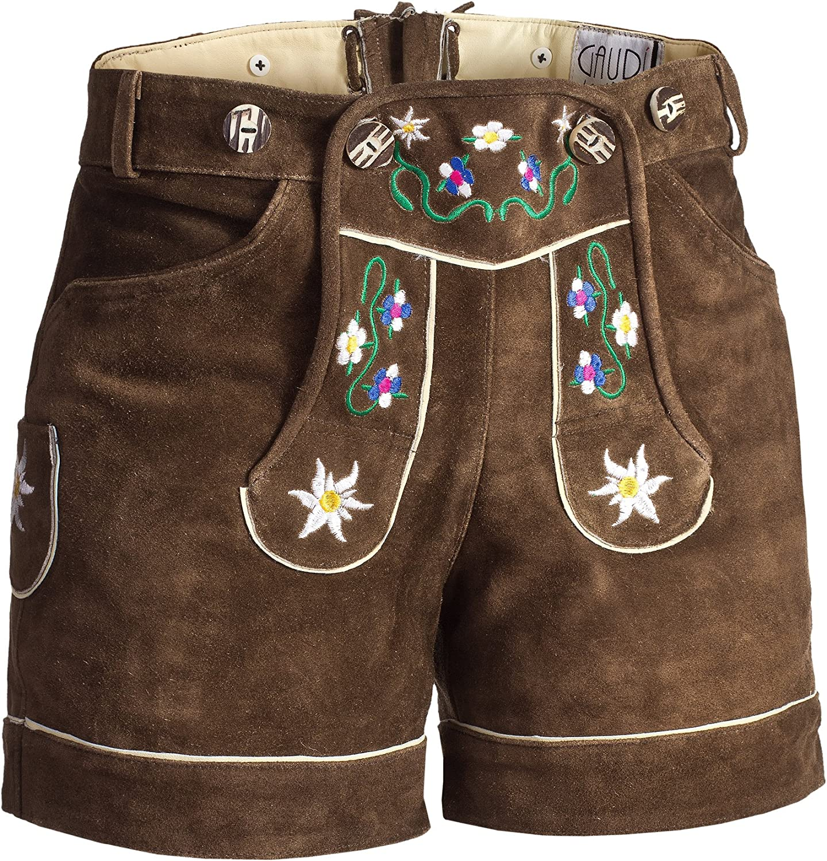 Damen Set Trachten Lederhose Shorts schwarz kurz mit Tr/äger Trachtenbluse Carmen in ver Farben