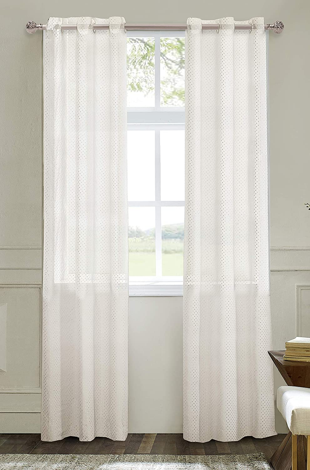 Dainty Home Diamond Puff Window Panel Pair, 76X96'', White