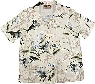 product image for Paradise Found Women's Bird of Paradise Bamboo Aloha Shirt, Cream, XL