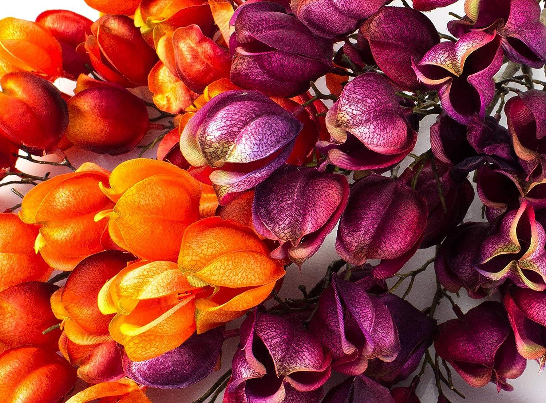 50 Fruits artplants.de Branche de Physalis Artificielle physalis Imitation 95cm Orange-Rouge Branche d/écorative