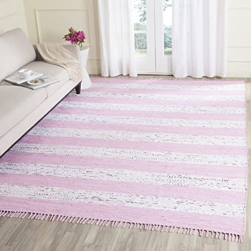 Safavieh Montauk Collection MTK720E Handmade Flatweave Ivory and Light Pink Cotton Area Rug 4 x 6