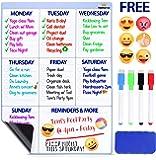 "Magnetic Dry Erase Board For Fridge - Weekly Calendar Whiteboard. BONUS 6 Emoji Magnets + 4 Color Markers + Eraser By FamilyGroup. Dry Erase Calendar 2018 For Kitchen Refrigerator 16""x12"" White"