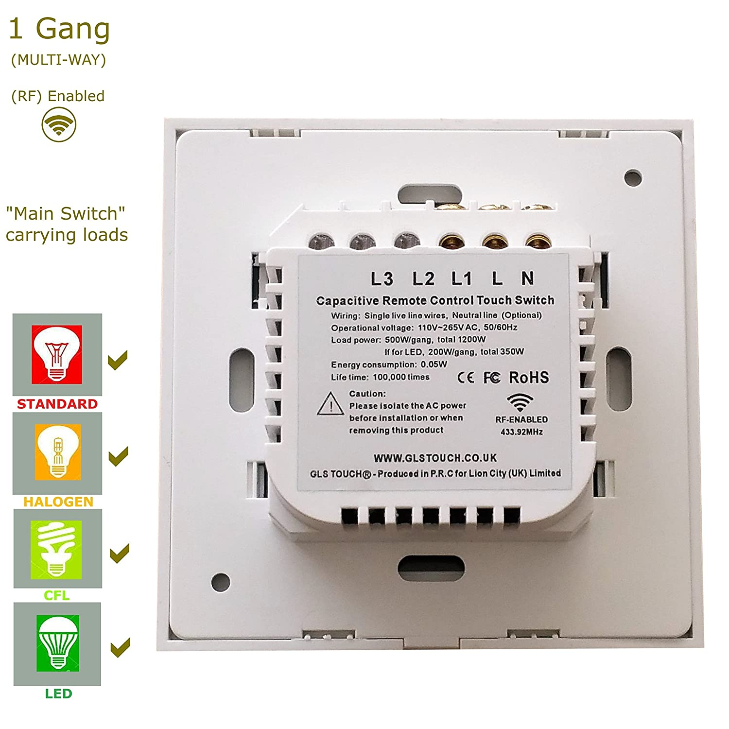 Glstouch Smart Rf Touch Light Switch White Glass Panel 1 Gang Wiring Single Way 2 Multi Control Via Radio Frequency 43392mhz Pairing