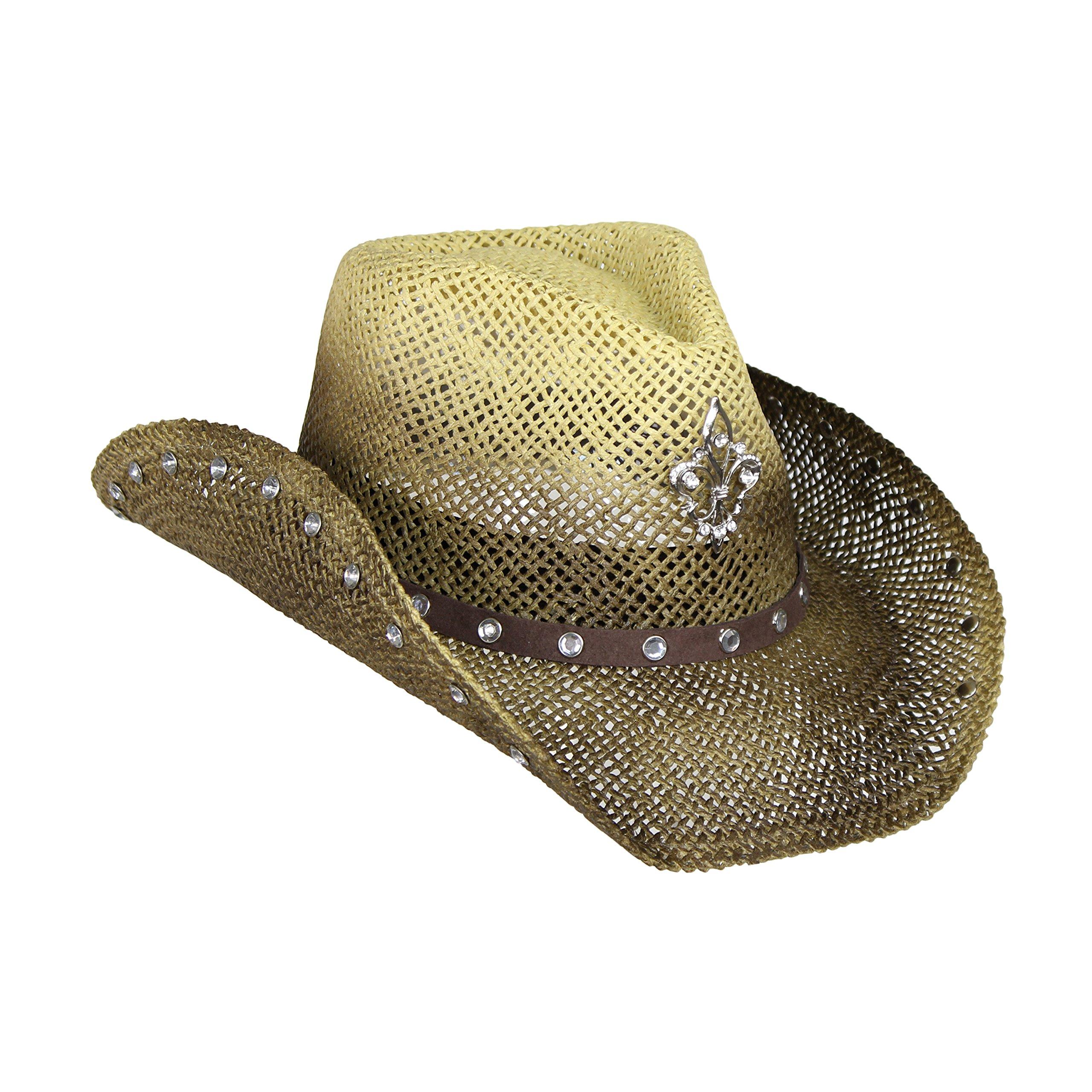 Western Khaki & Brown Ombre Cowboy Hat, Straw Cowgirl Hat with Rhinestones & Broach