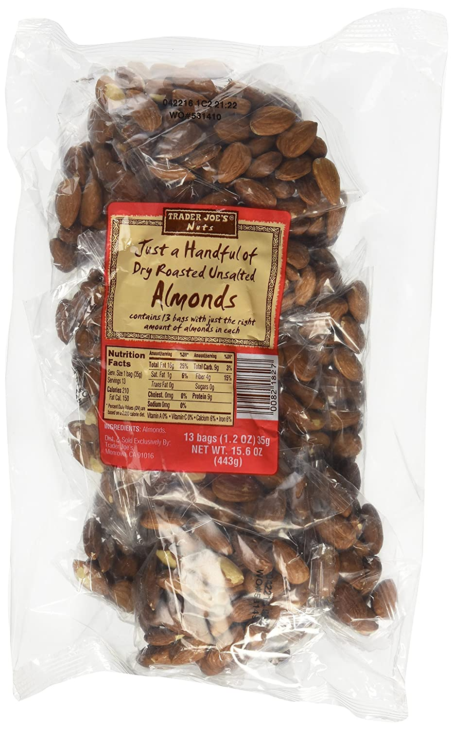 Trader Joes Just a Handful of Dry Roasted Unsalted Almonds 2 Pack/26 Individual Bags