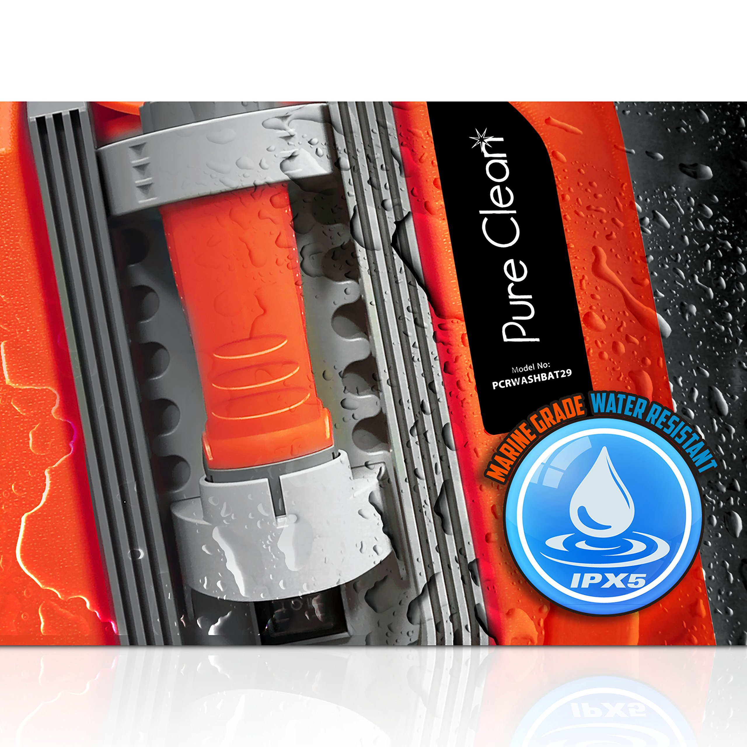 Pure Clean PCRWASHBAT29 portable spray washer W/ Flash Light - Power bank - Carrying Wheels by Pure Clean (Image #5)