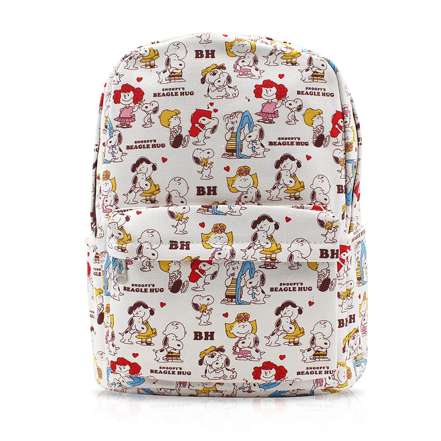 b5d6005c65 Finex Snoopy White Canvas Cute Cartoon Casual Backpack with 15 inch Laptop  Storage Compartment for Children Kids Girls Boys Preschool Elementary  Middle ...