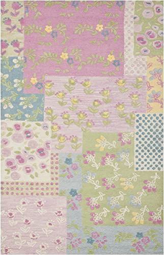 Safavieh Safavieh Kids Collection SFK321A Handmade Pink and Multi Cotton Area Rug 8 x 10