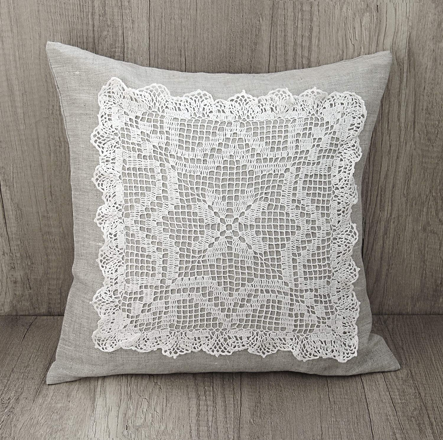 Amazoncom Crochet Embroidery Throw Pillow Cover Gray Decorative