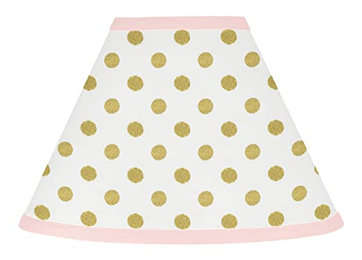 Baby Girl Childrens Lamp Shade for Blush Pink White Damask and Gold Polka Dot Amelia Collection