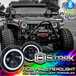 RGB Halo 7 inch LED Headlights - Plug and Play LED Angel Eye Headlight Sealed Beam with Bluetooth Function for 1997 to 2017 Jeep Wrangler JK CJ LJ - Compatible and Fits for Jeep