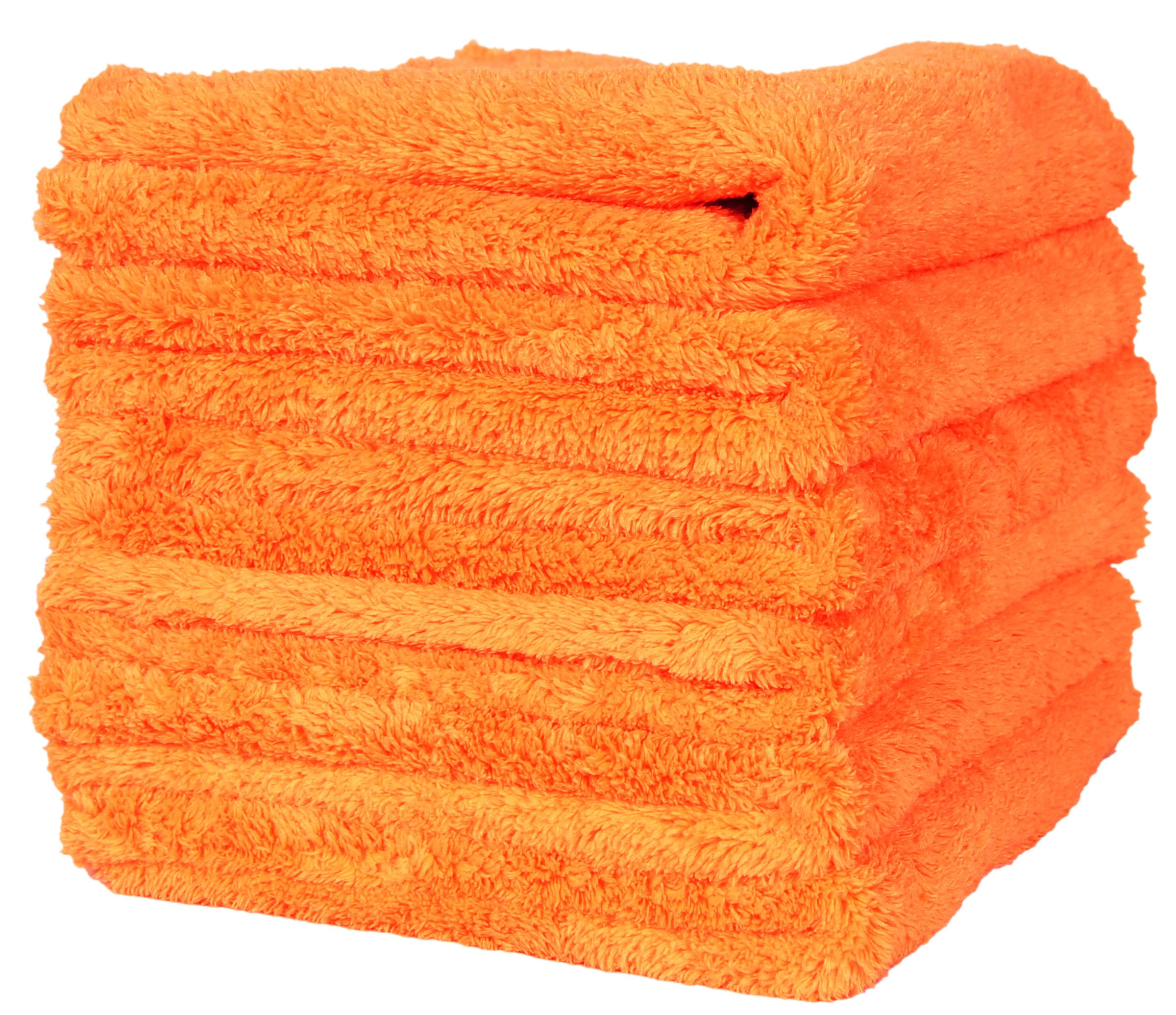LANTEENSHOW (6-Pack) 16x16 inches Professional Korea 80/20 Blend Super Ultra Plush Thick Microfiber Cleaning Towels For Car Wash,500 GSM Edgeless (16x16 Inches) (orange)