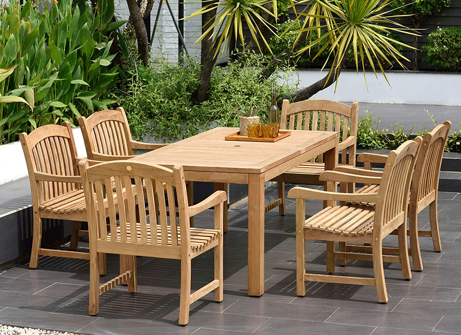 Bar Height Glass Table, Amazon Com Amazonia Pennsylvania 7 Piece Outdoor Rectangular Dining Table Set Certified Teak Ideal For Patio And Indoors Light Brown Outdoor And Patio Furniture Sets Garden Outdoor