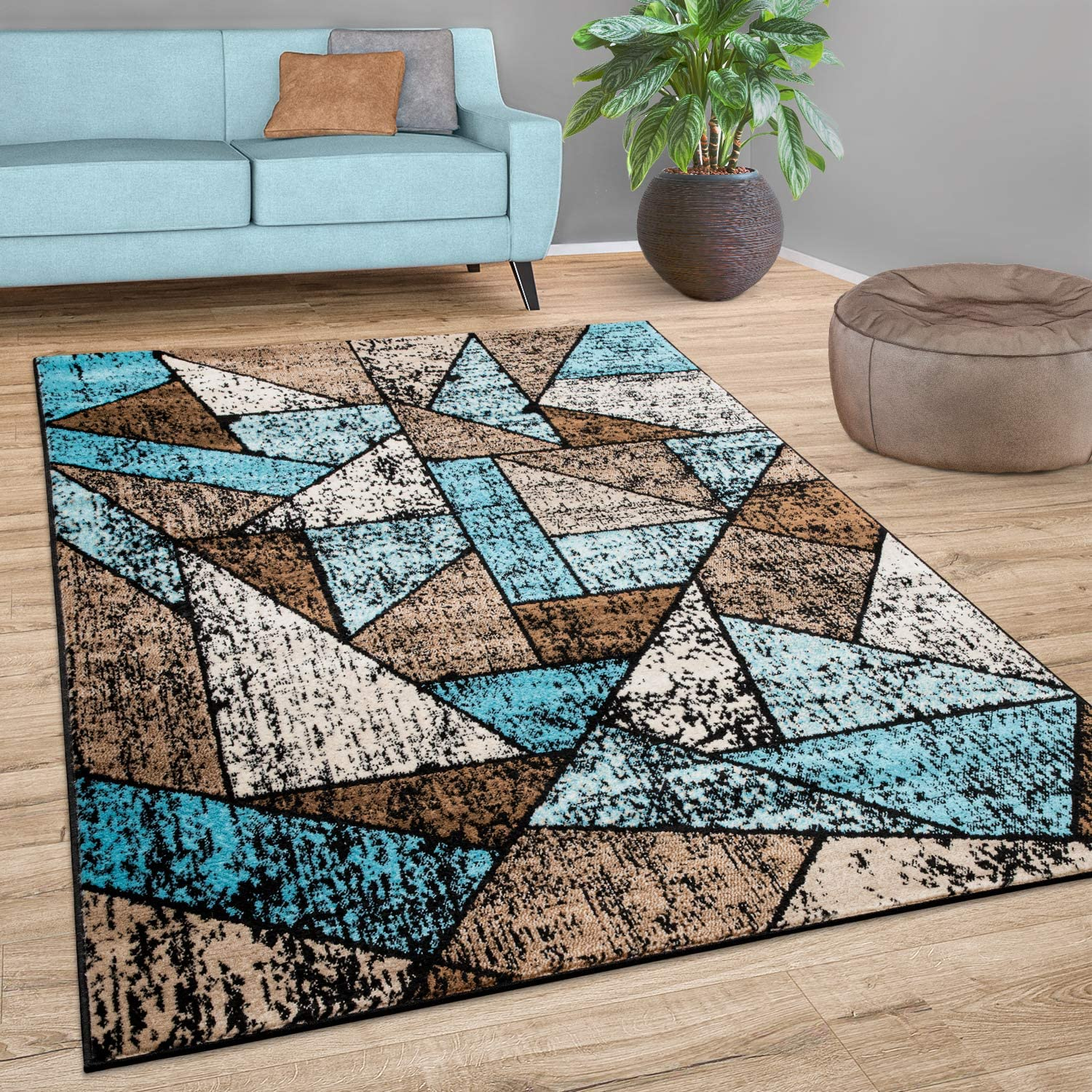"Brown Blue Area Rug for Living Room with Modern Geometric Pattern - Colorful Design, Size:5'3"" x 7'3"""