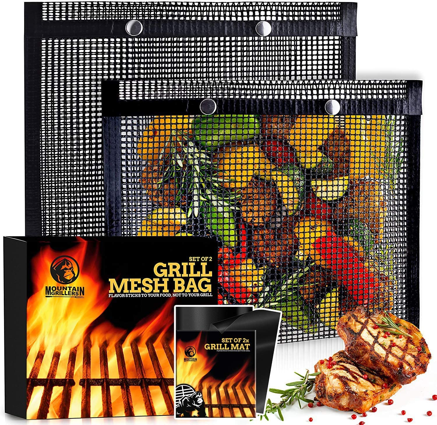 12 x 9.5 inches BBQ Mesh Grill Bags with Non Stick BBQ Grill Mat - Pack