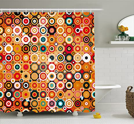 Modern Art Home Decor Shower Curtain By Ambesonne, Disc Rounded Linked  Forms With Deep Concentric