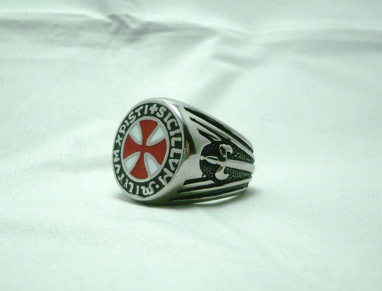 Caballeros Templarios soldados de Cristo Masónico Anillo Sello Rojo