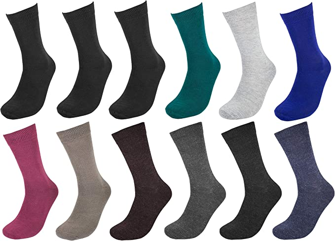 12 Pairs Mens Dress Socks Fashion Casual Solid Dark Blue Cotton