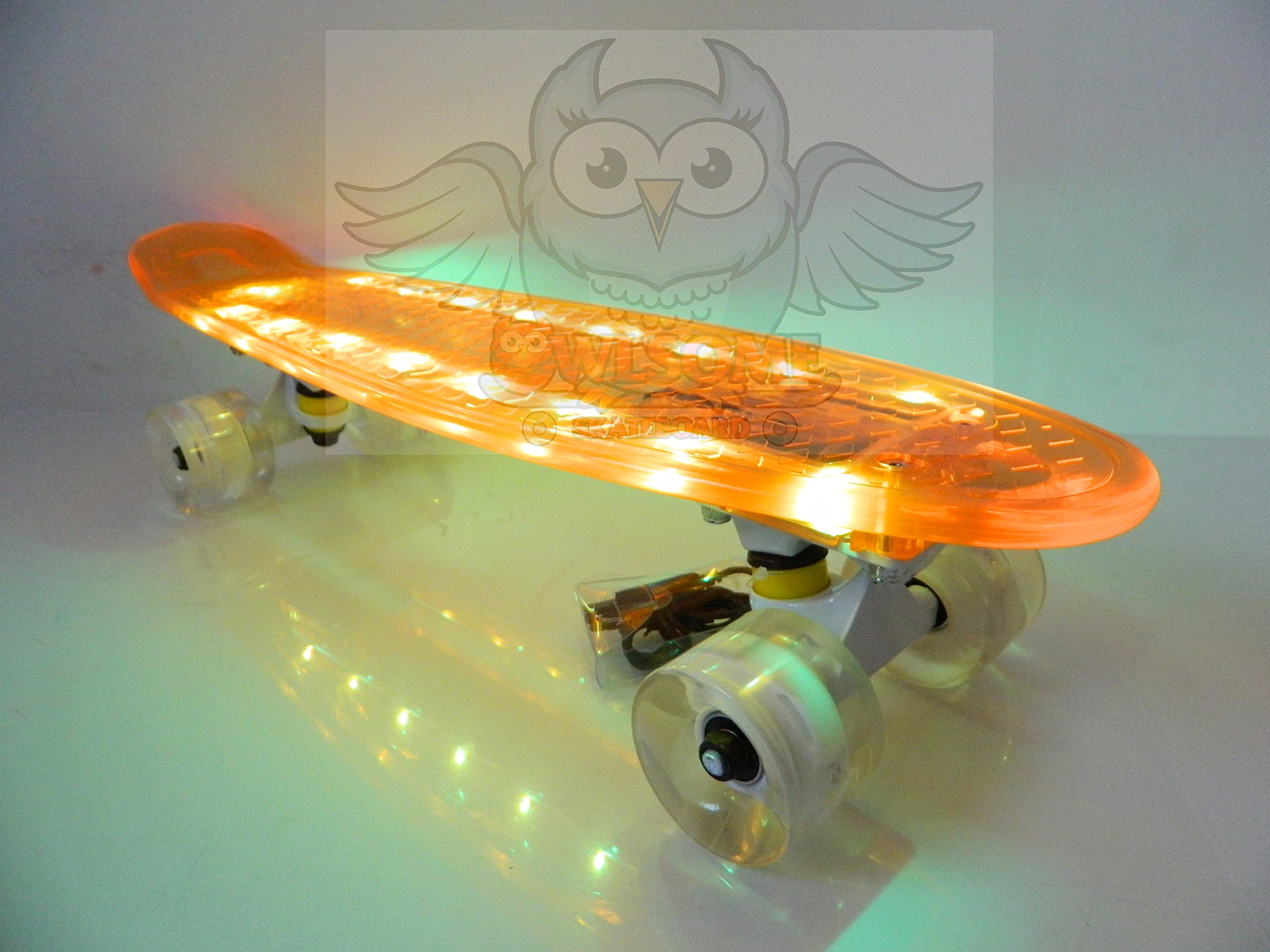 Owlsome Skateboard 22'' x 6'' Rechargeable LED Light Up Deck/Wheels Plastic Mini Cruiser (Orange)