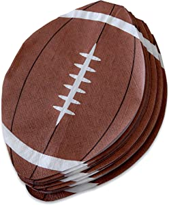 """Football Party Napkins - 100 Pack Disposable Football Shape Paper Napkins 5"""" x 7.5"""" Perfect for Super Bowl, Tailgating, Sports Theme Birthday Party Decoration"""