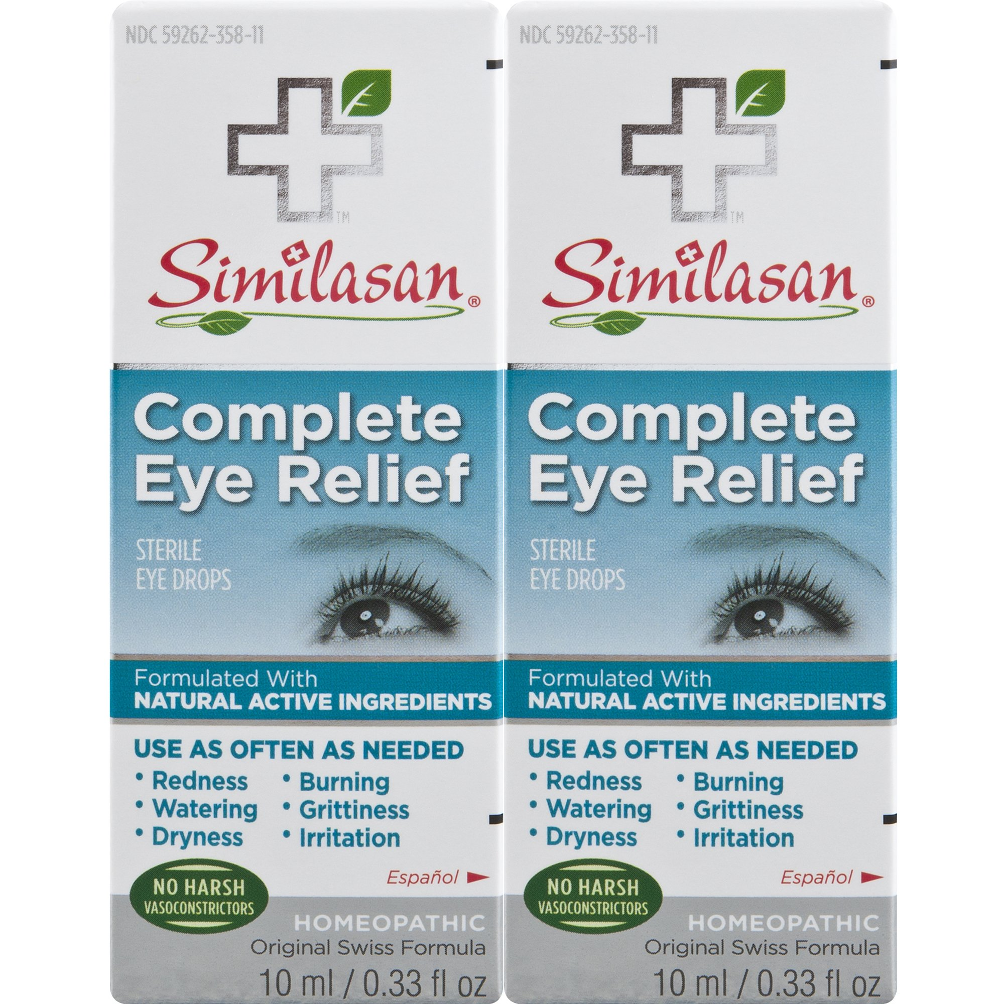 Similasan Complete Eye Relief Eye Drops Bottle, for Temporary Relief from Red Eyes, Dry Eyes, Burning Eyes, Watery Eyes, 0.33 Fl Oz (Pack of 2)