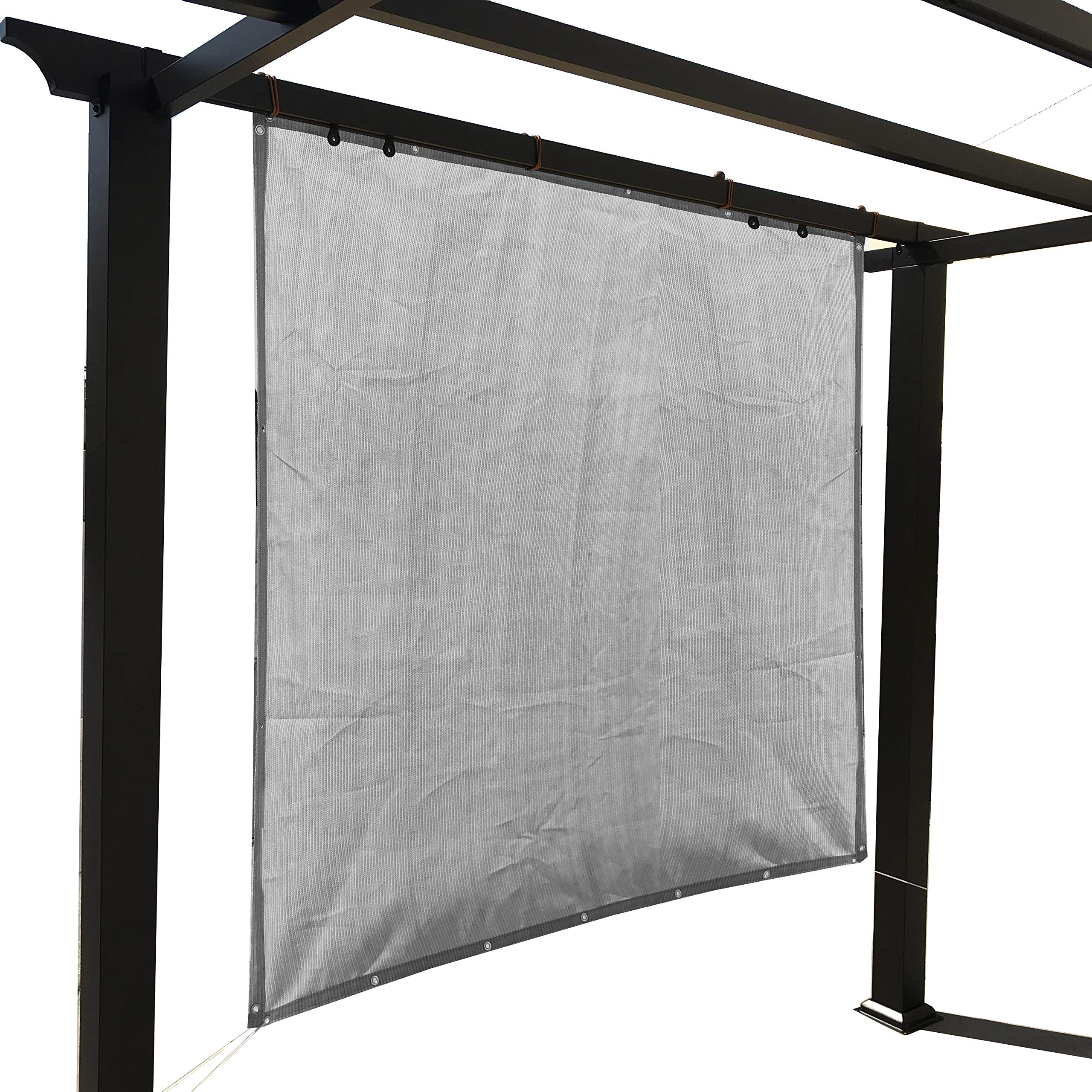 Alion Home Sun Shade Panel Privacy Screen with Grommets on 4 Sides for Outdoor, Patio, Awning, Window Cover, Pergola (10' x 12', Light Grey)