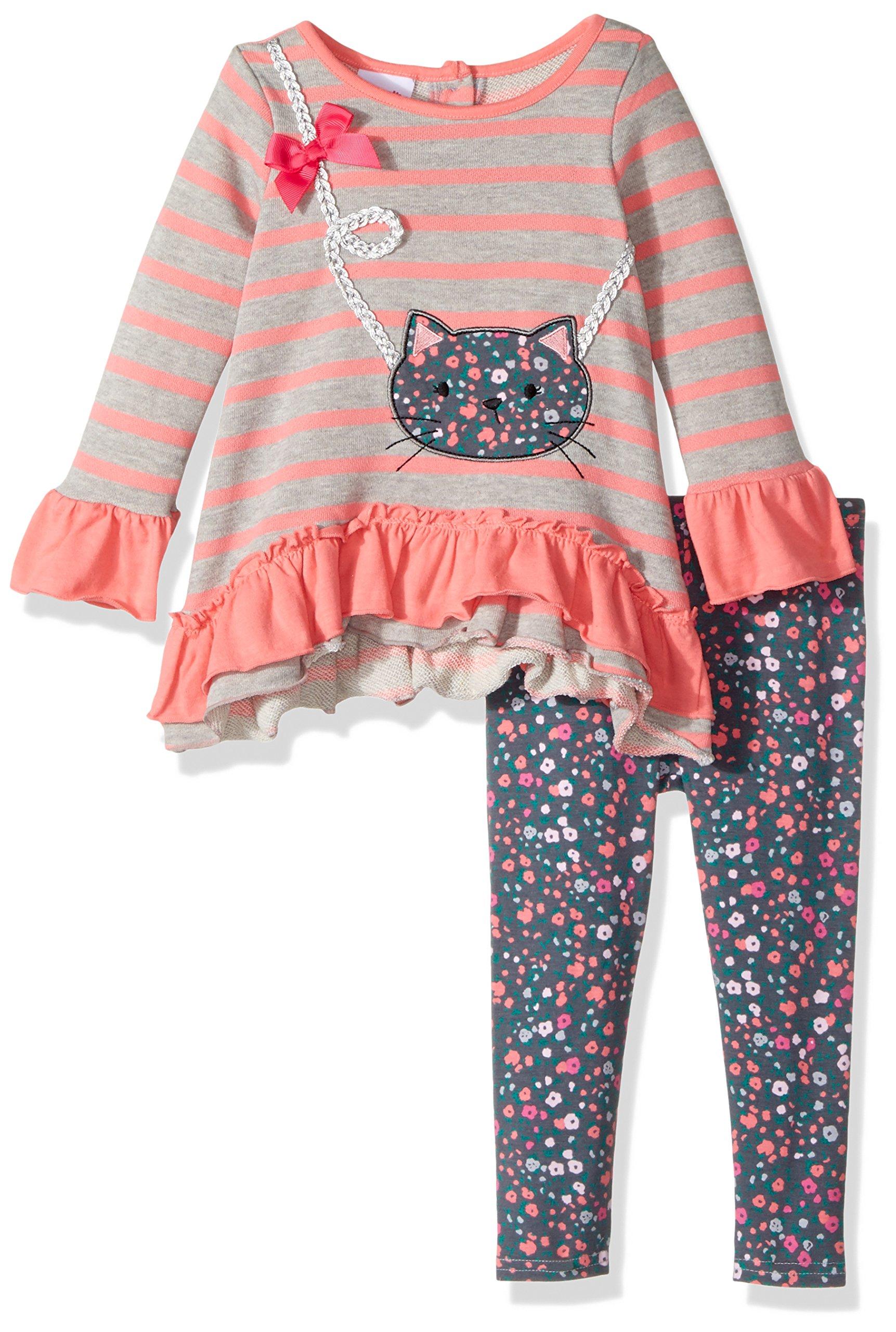 Nannette Baby Girls' Playwear Long Sleeve Top and Legging Set, Grey, 24m