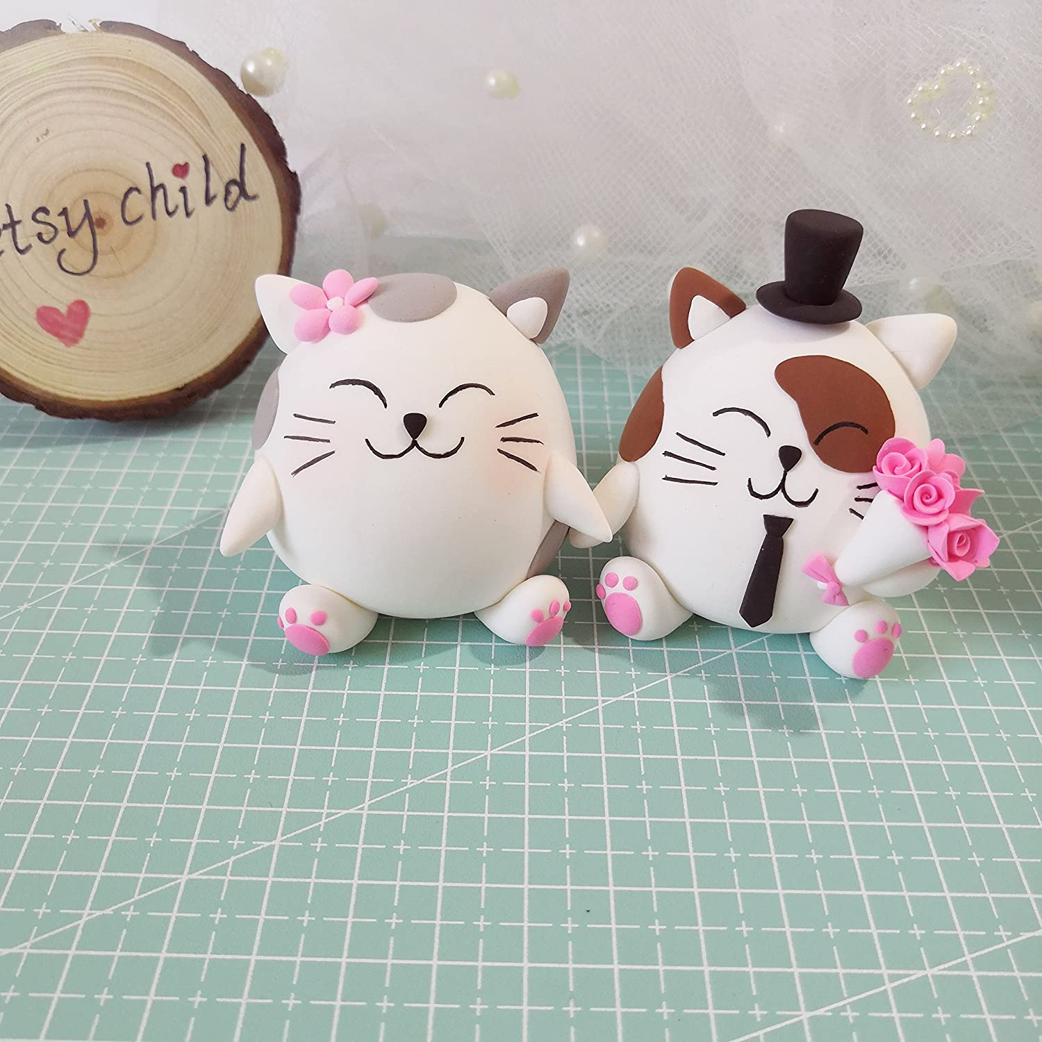Cat Wedding cake toppers - Cute funny animal wedding topper clay figurine, engagement decoration