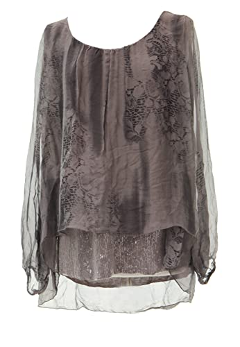 Ladies Women Italian Lagenlook Sequin Hem Bottom Snake Print Silk Tunic Top Blouse One Size Plus UK ...