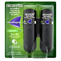 Nicorette QuickMist Mouth Spray Duo Pack, Fresh Mint, 1 mg (Stop Smoking Aid)  Packaging may vary