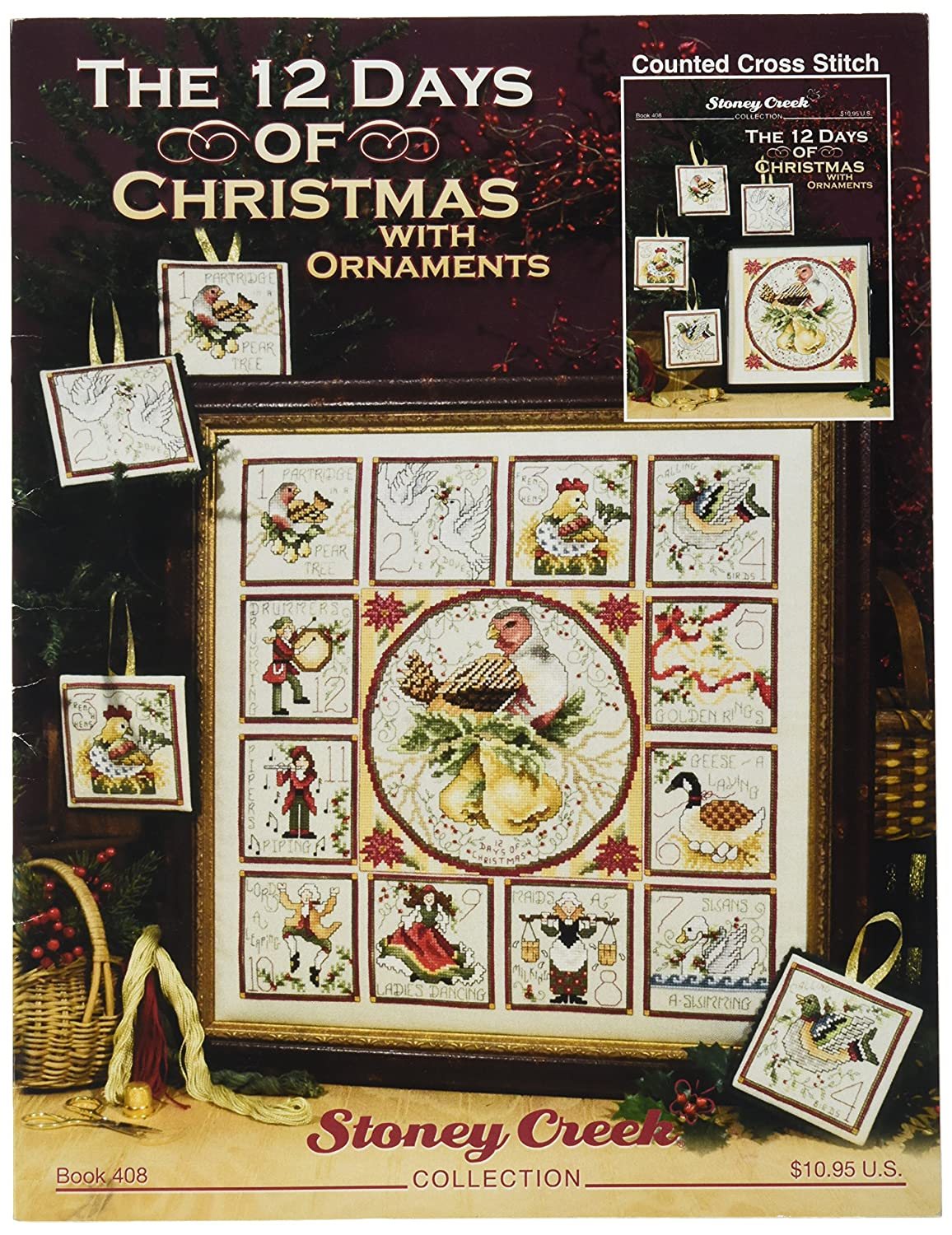 12 Days Of Christmas Cross Stitch.Stoney Creek The 12 Days Of Christmas With Ornaments Book