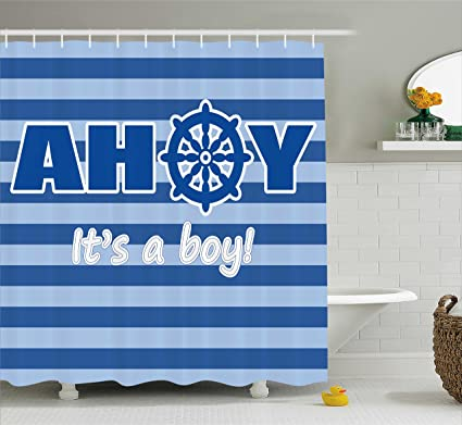 Ambesonne Ahoy Its A Boy Shower Curtain Baby New Birth Announcement Marine Wheel Striped