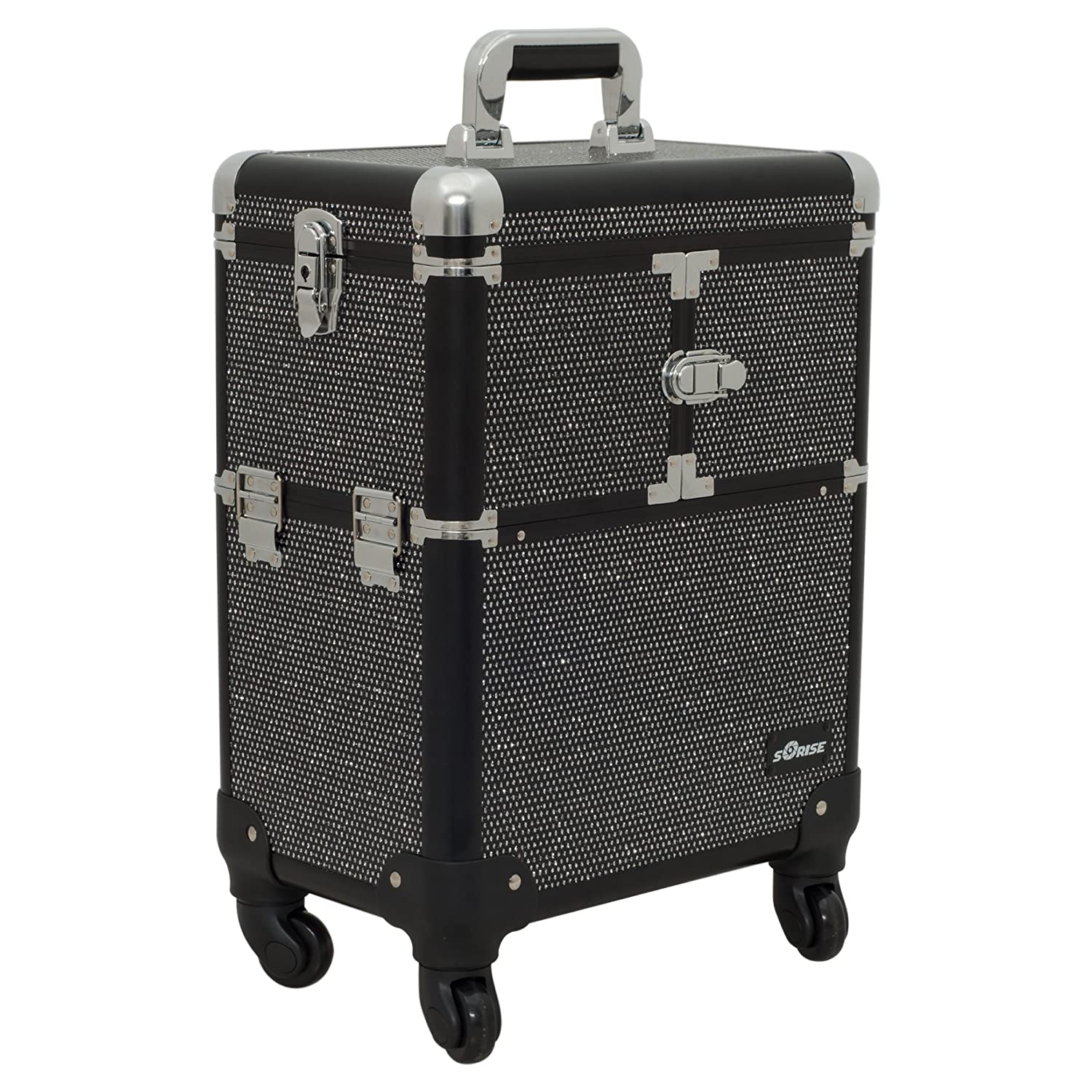 Sunrise e6304 Professional 4 Wheels Makeup Rolling Train Case Organizer 6 Trays Dividers Roomy Space Krystal Black E6304KLAB