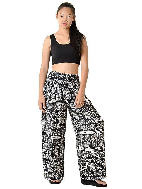 a935f117ac8 Orient Trail Women s Bohemian Elephant Design Yoga Wide Leg Harem Pants  Small Elephant Black 2