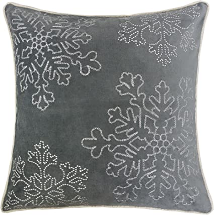 Homey Cozy Embroidery Gray Velvet Throw Pillow Cover Merry Christmas Series Snowflake Luxury Soft Fuzzy Cozy Warm Slik Gift Square Couch Cushion Pillow Case 20 X 20 Inch Cover Only Home Kitchen Amazon Com