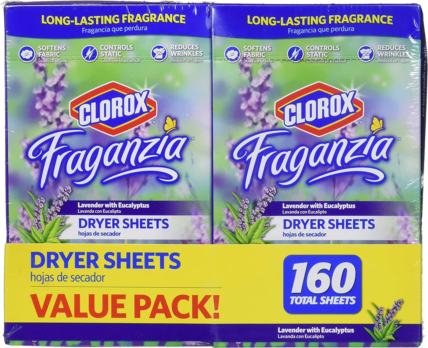 Clorox Fraganzia Fabric Softener Dryer Sheets in Lavender Scent & Eucalyptus | Laundry Dryer Sheets with Long-Lasting Fragrance | 80 Count Each – 2 Pack
