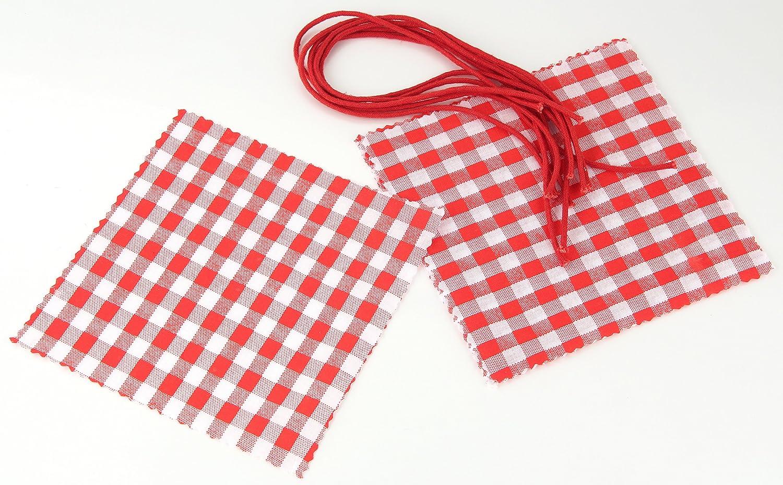 Verzierung f/ür Einmachgl/äser Menge: 6 St/ück Fackelmann Schmuckdeckchen mit Kordel Marmeladendeckchen aus Baumwolle Farbe: Rot//Wei/ß