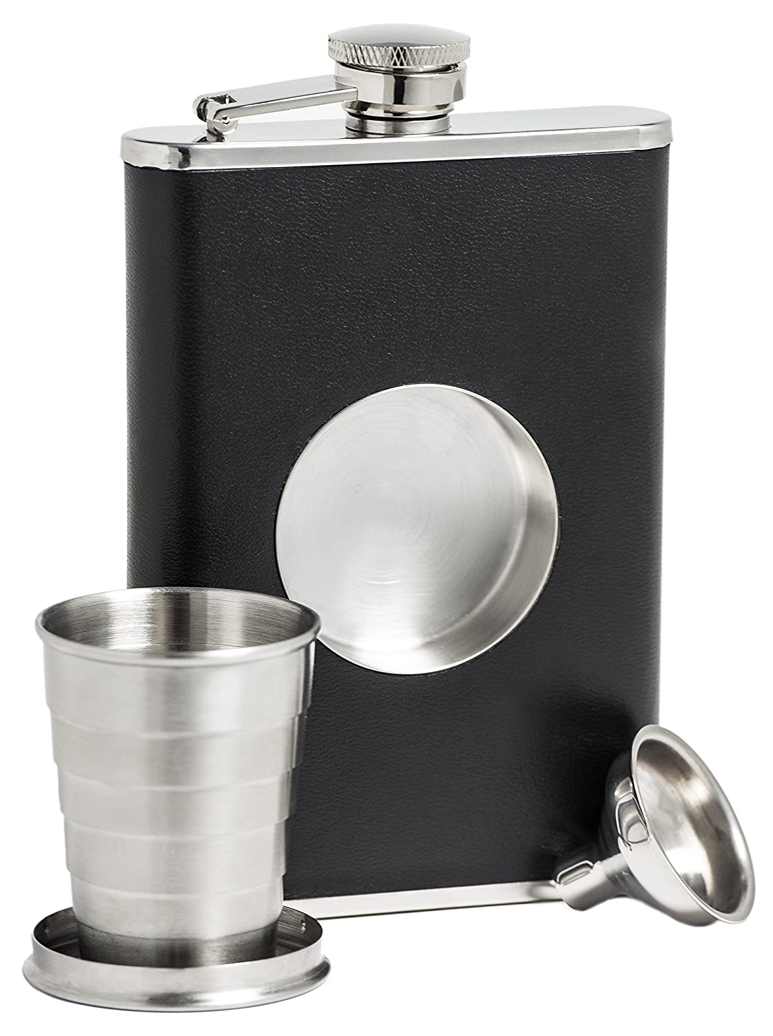 Shot Glass /& Flask Funnel Everything You Need to Pour Shots on the Go Shot Flask BarMe Brand NA Stainless Steel 8 oz Hip Flask Built-in Collapsible 2 Oz