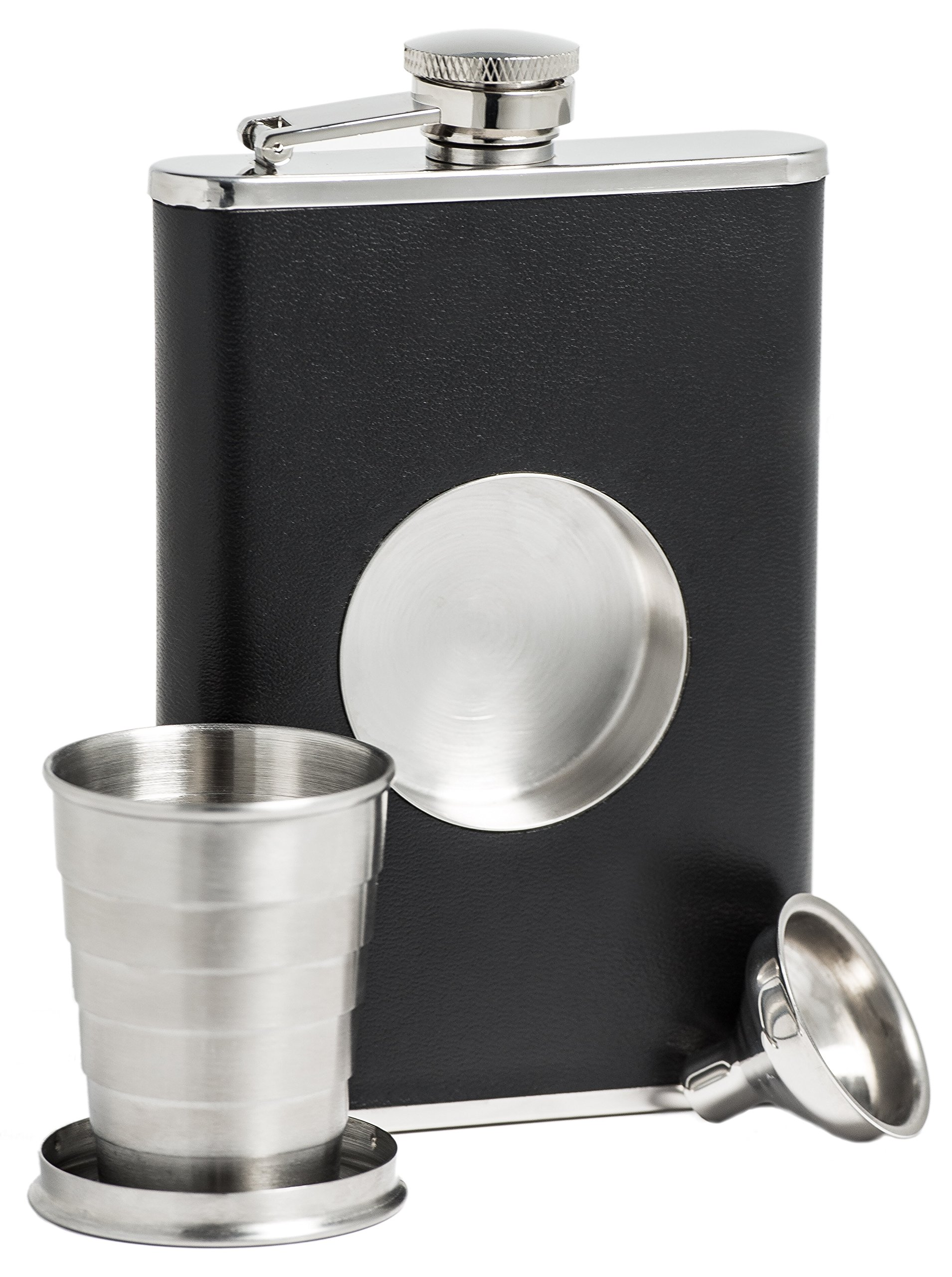 Shot Flask - Stainless Steel 8 oz Hip Flask, Built-in Collapsible 2 Oz. Shot Glass & Flask Funnel - Everything You Need to Pour Shots on the Go - BarMe Brand by BarMe (Image #1)