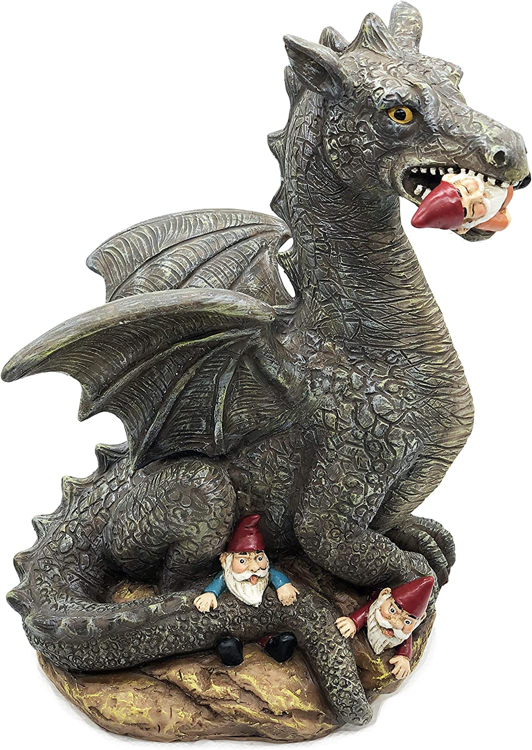 FICITI The Great Garden Gnome Massacre, Angry Dragon Eating Gnomes, 10 Inches Tall