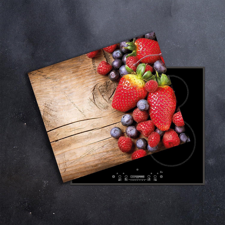 Ceranfeldabdeckung 1 Teilig 60x52 cm Herdabdeckplatten Obst Elektroherd Induktion Herdschutz Spritzschutz Glasplatte Schneidebrett DAMU