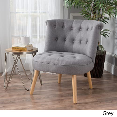 Christopher Knight Home Donna Mid Century Fusion Grey Button Tufted Fabric Chair