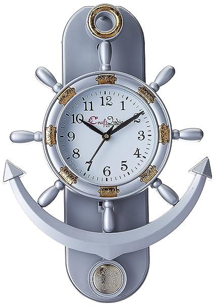 9c3054d5f Buy eCraftIndia Decorative Retro Anchor Plastic Pendulum Wall Clock (31 cm  x 3 cm x 39 cm
