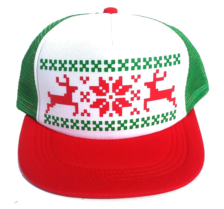 amazoncom reindeer snowflake mesh trucker hat cap ugly sweater christmas x mas black clothing - Ugly Christmas Hats