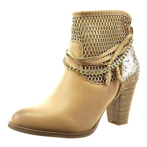 Sopily - Zapatillas de Moda Botines Tobillo mujer fishnet cadena cuerda Talón Tacón ancho alto 8 CM - Camel FRF-12-F600 T 37: Amazon.es: Zapatos y ...