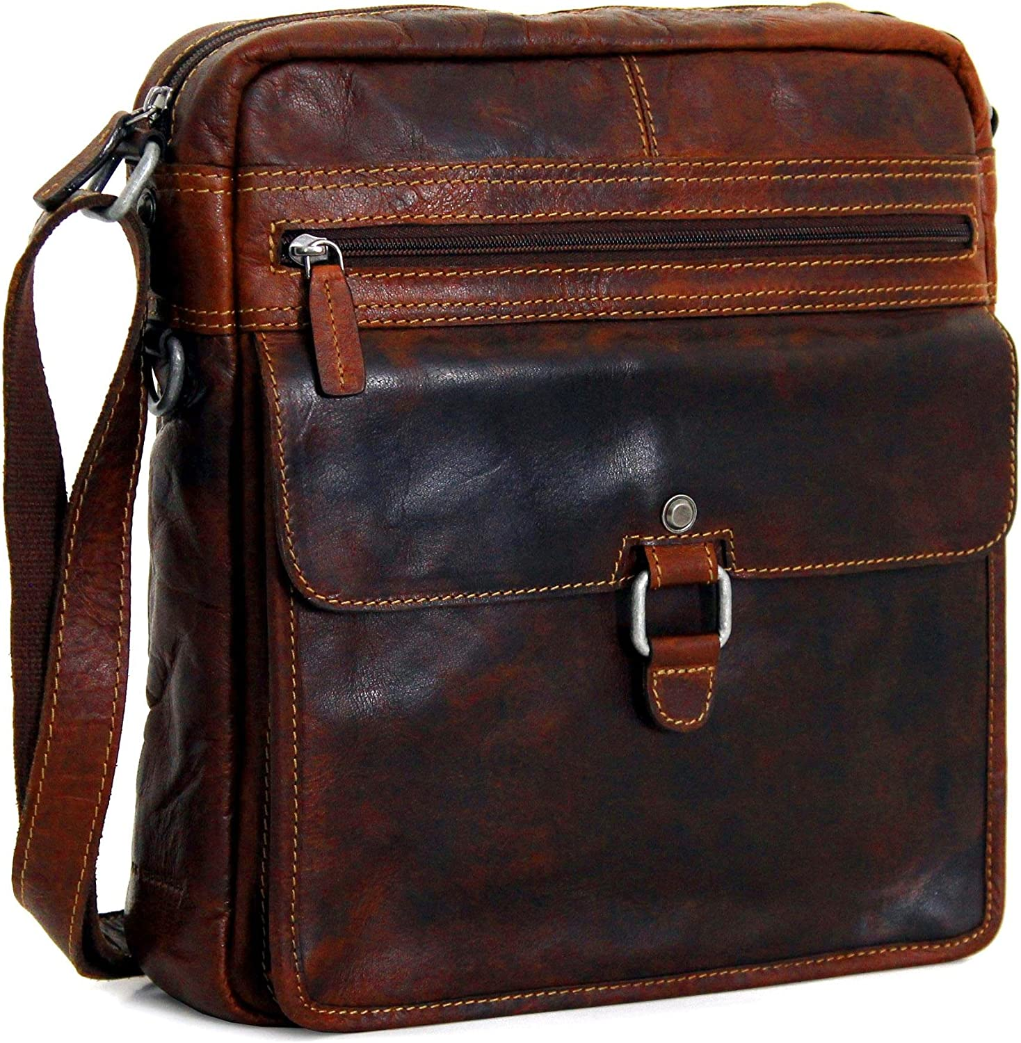 Jack Georges Voyager Mini Crossbody Brown Hand Stained Buffalo Leather Bag
